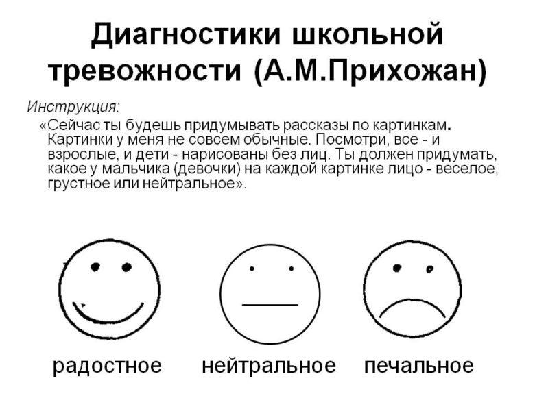 Проективная методика для диагностики школьной тревожности А.М.Прихожан (6-9 лет)